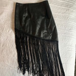 Rehab leather fringe skirt